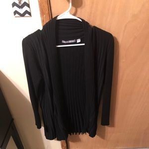 ($7) Black Long Pleated Open Front Cardigan